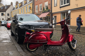 Scooter parked in a street